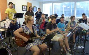 Big band rehearsing