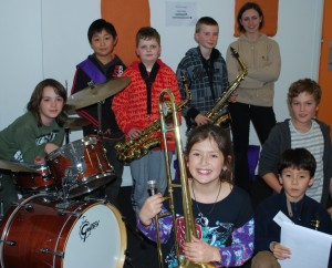 Winter jazz camp students