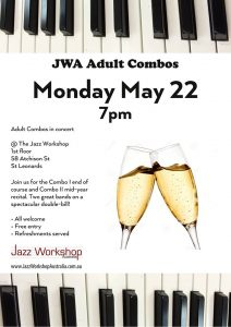 Adult combo concert flyer May 22 Jazz Workshop Australia