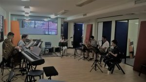 Students jamming at the Jazz Workshop in St Leonards