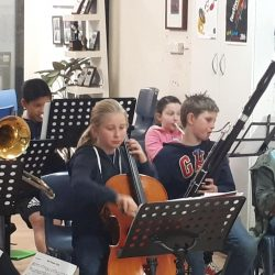 jazz band with cello, bassoon, and French horn