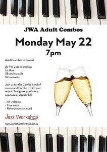 Adult combo concert flyer May 22 Jazz Workshop Australia