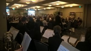 view of Rotary club audience from the stage, JWA stage band