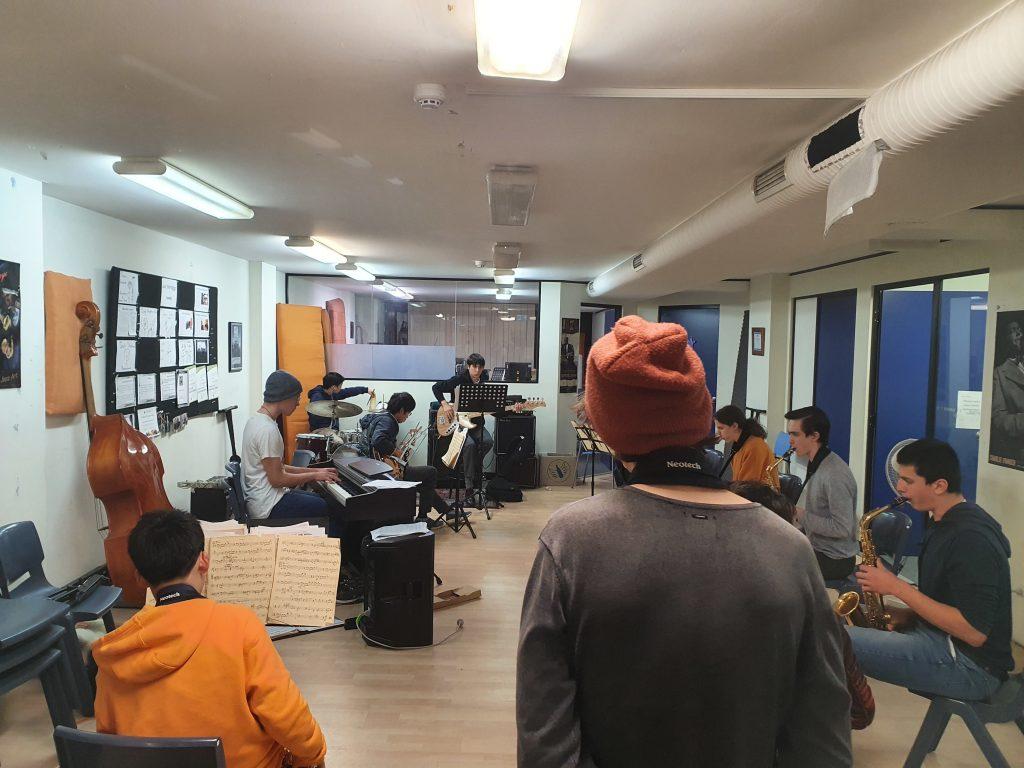 jazz band rehearsal at JWA with social distancing